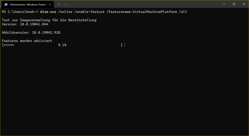 WSL2 installieren - Enable VM