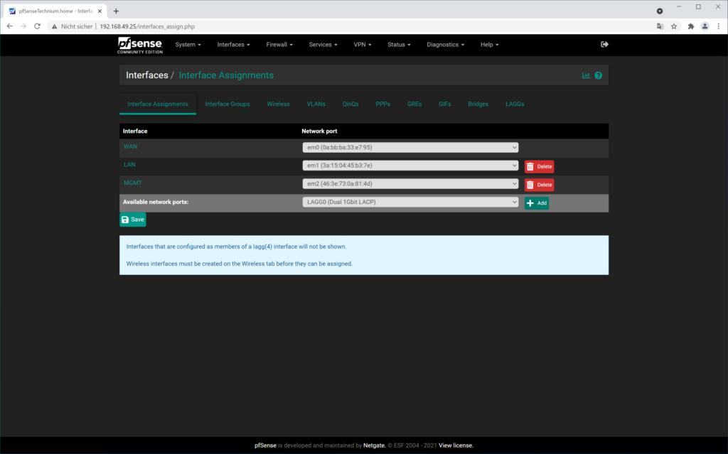 pfSense LACP erstellen - Interface Assignments