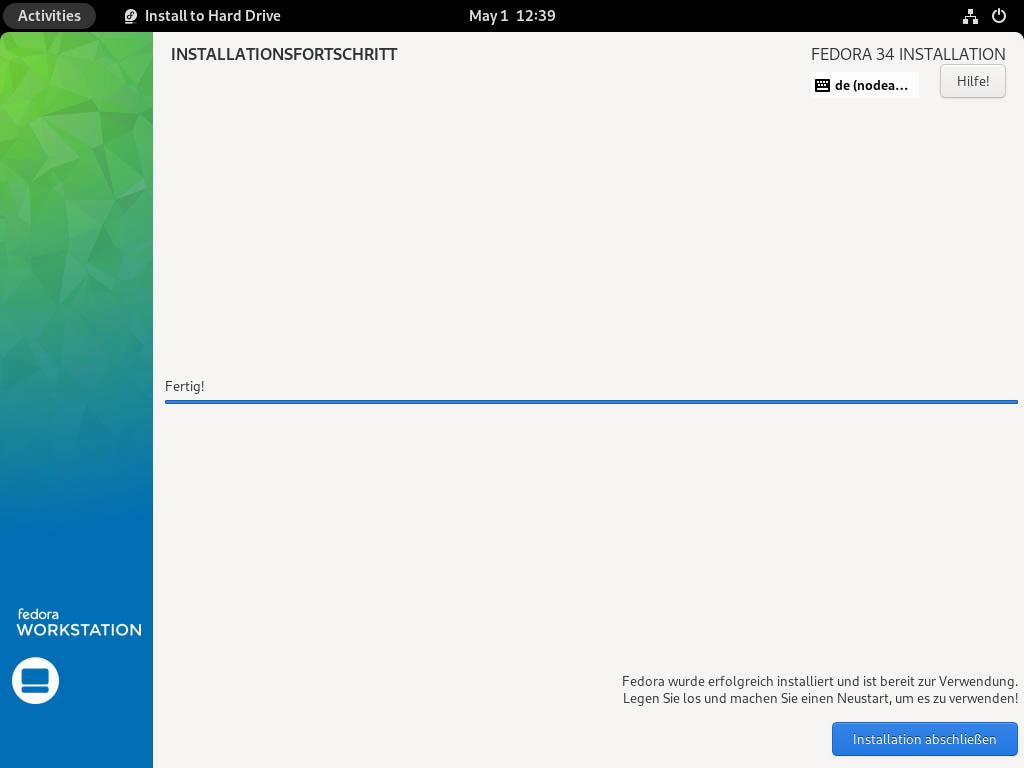Fedora 34 installieren - fertig