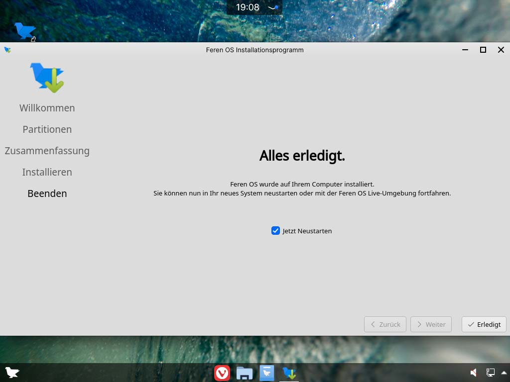 feren OS installieren - neustart