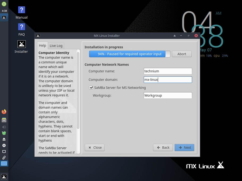 MX Linux 19.4 installieren - set computer name