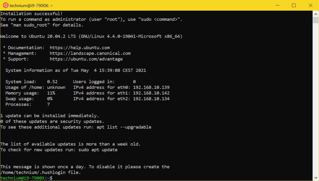 WSL2 Ubuntu installieren - Use Ubuntu