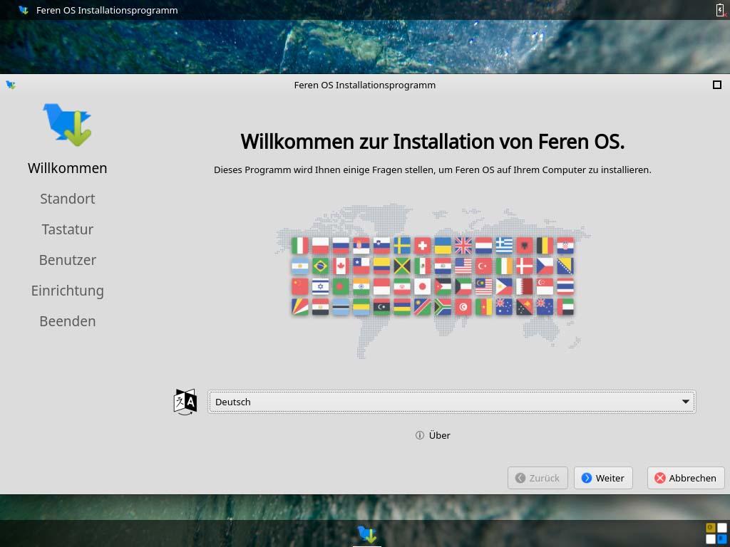 feren OS installieren - sprache
