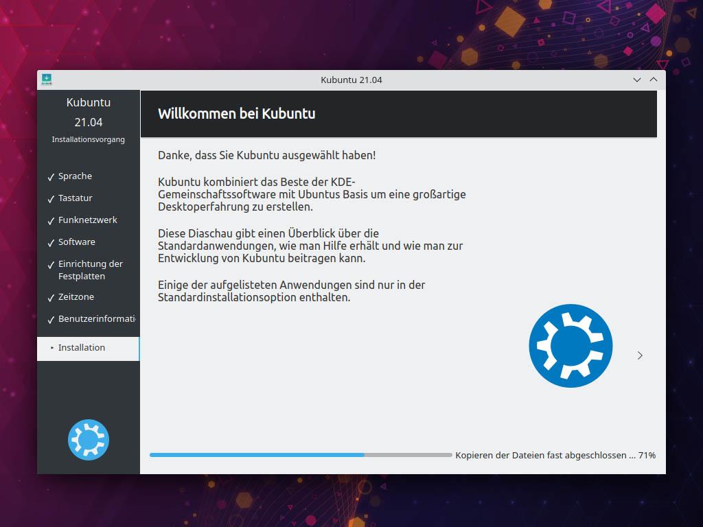 Kubuntu 21.04 installieren - Wilkommen