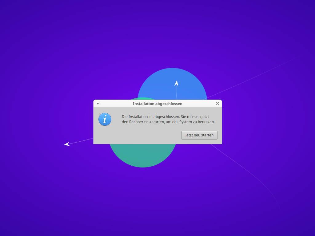 Xubuntu 21.04 installieren - neu starten