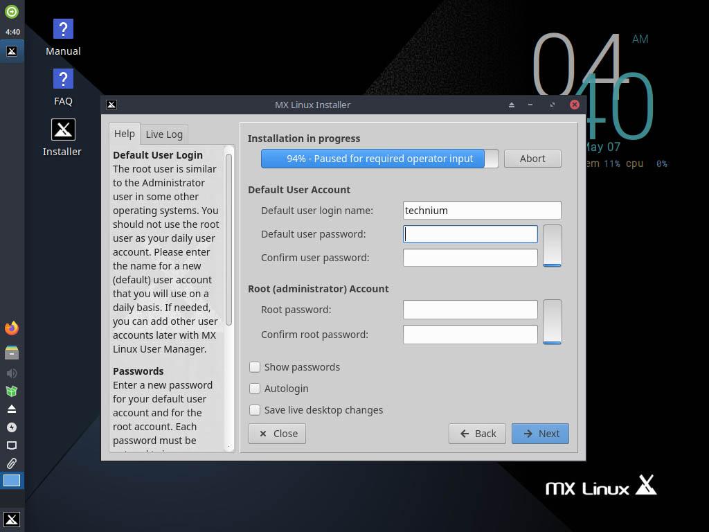 MX Linux 19.4 installieren - set passwords