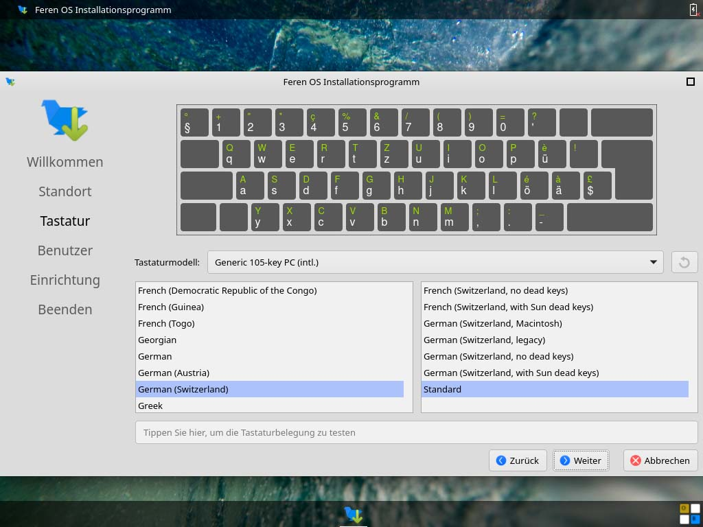 feren OS installieren - tastaturbelegung