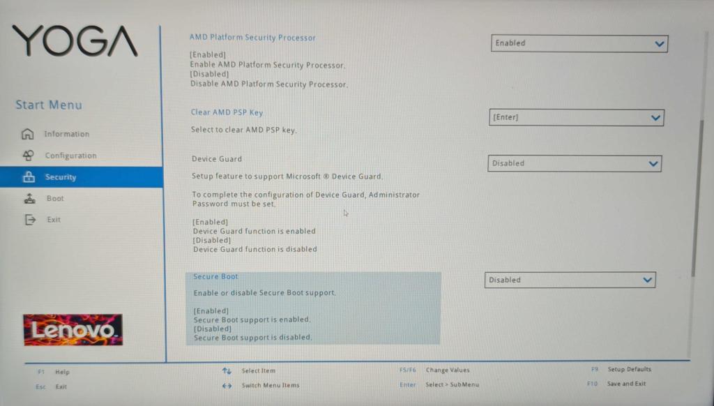 Lenovo Yoga 7 14ACN6 Ubuntu Suspend Patch - BIOS Disable Secure Boot